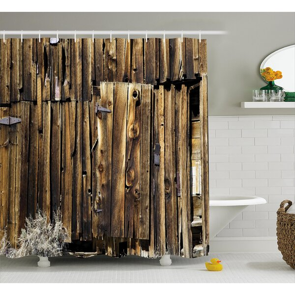 Rustic Oak Barn Timber Door Shower Curtain by East Urban Home