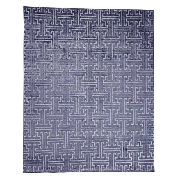Oidized Maze Oriental Hand-Knotted Silk Blue Area Rug by Rosdorf Park