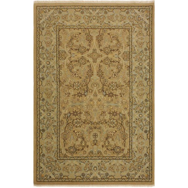 One-of-a-Kind Abagail Turkish Hand-Knotted Wool Tan/Blue Area Rug by Isabelline