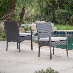 Mayaguana Patio Dining Chair with Cushion (Set of 2)