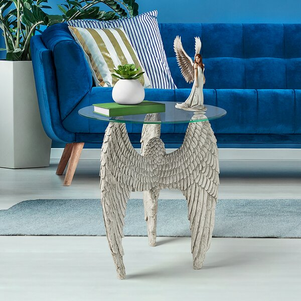 Angel Wings At Feet Glass-Topped Sculptural End Table By Design Toscano