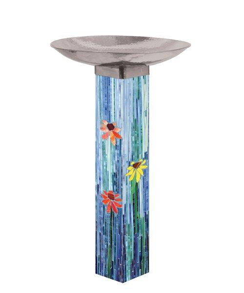 Mosaic Watercolor Birdbath by Studio M