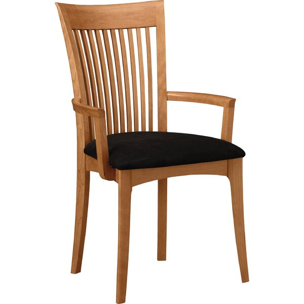 Sarah Leather Upholstered Slat Back Arm Chair by Copeland Furniture Copeland Furniture