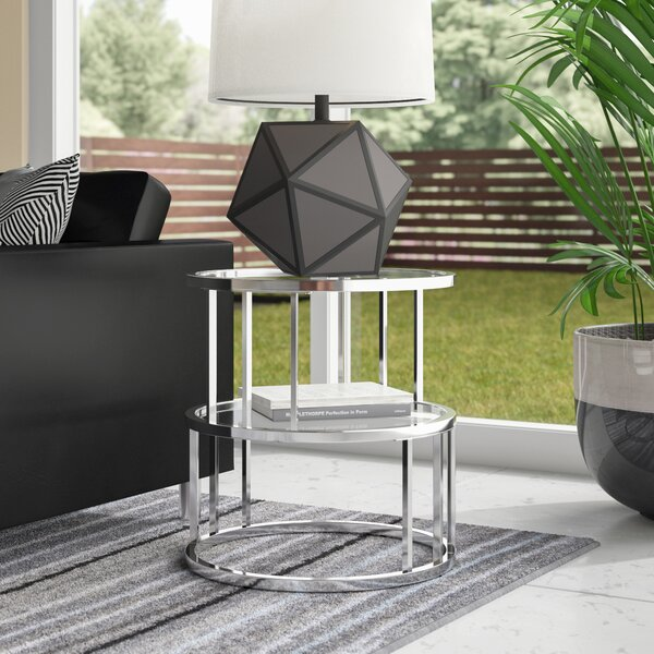 Crediton Glass Top Frame End Table With Storage By Wade Logan