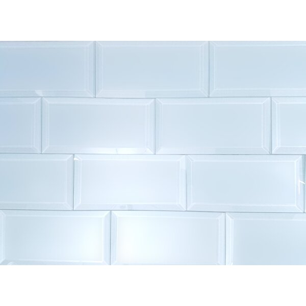 Frosted Elegance 3 x 6 Glass Subway Tile in Matte Blue by Abolos