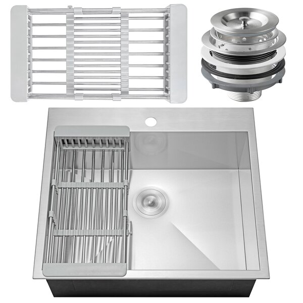 25 x 22 Drop-In Top Mount Stainless Steel Single Bowl Kitchen Sink w/ Adjustable Tray and Drain Strainer Kit by AKDY