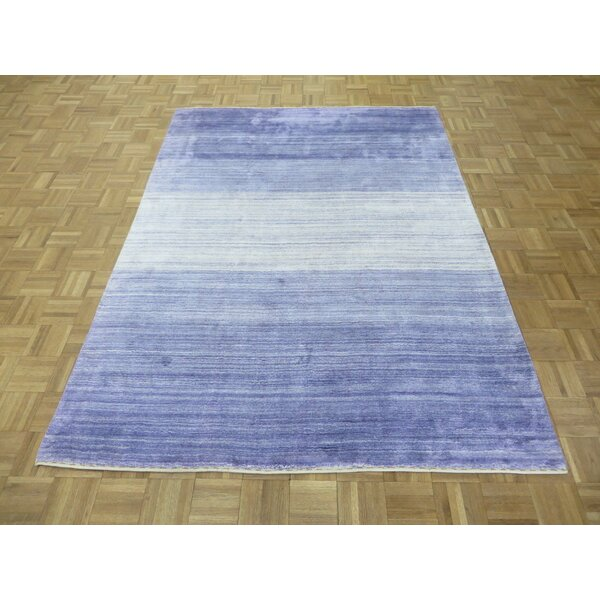 One-of-a-Kind Elbridge Modern Hand-Knotted Purple Area Rug by Red Barrel Studio