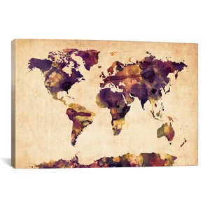 'Urban Watercolor World Map VI' Photographic Print by East Urban Home