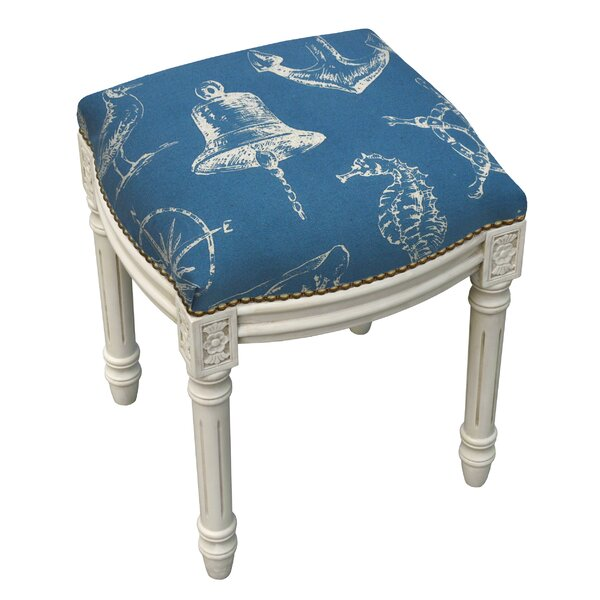 Nautical Linen Upholstered Vanity Stool with Nailhead by 123 Creations