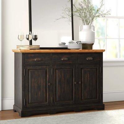 """Three Posts Fortville 52"""" Wide 3 Drawer Rubberwood Wood Sideboard  Color (Base/Top): Antique Black/Brown"""