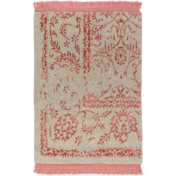 Marwan Hand-Knotted Coral/Khaki Area Rug by One Allium Way