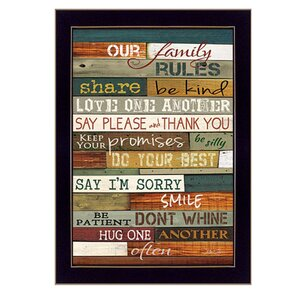 'Our Family Rules' Framed Textual Art by Trendy Decor 4U