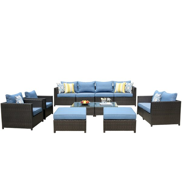 Cassville Big Size 12 Piece Rattan Sofa Seating Group with Cushions by Brayden Studio