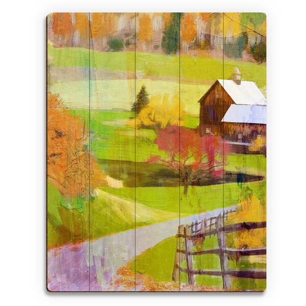 Farmhouse Fall Time Painting Print on Plaque by Click Wall Art