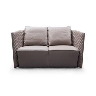 Francis Brown Leather Sofa by Orren Ellis