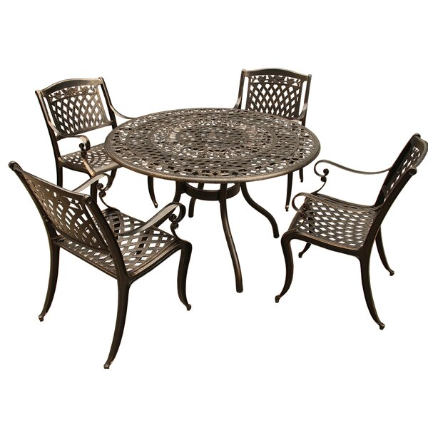 Cass Rose Ornate Mesh Lattice 5 Piece Dining Set by Fleur De Lis Living