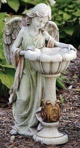 Angel Solar and Lighted Birdbath by Roman, Inc.