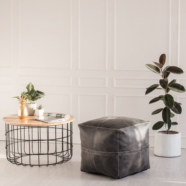 Angelo Leather Pouf by Loon Peak