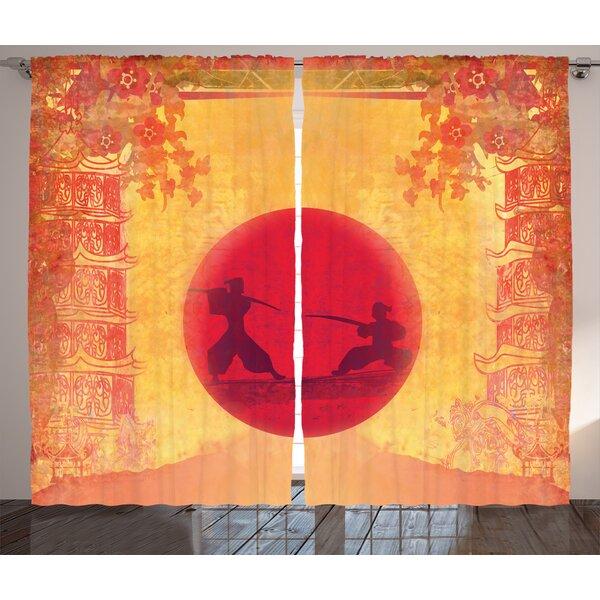 Rick Graphic Print & Text Semi-Sheer Rod Pocket Curtain Panels (Set of 2) by Latitude Run