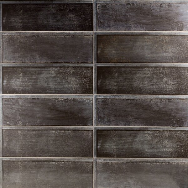 Piston Ribbed 8 x 24 Porcelain Field Tile in Black by Splashback Tile