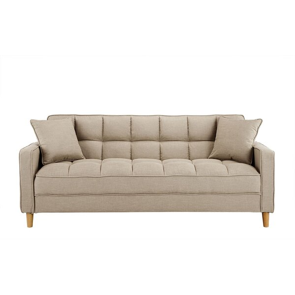 Review Corn Modern Fabric 75'' Square Arm Tufted Small Space Sofa