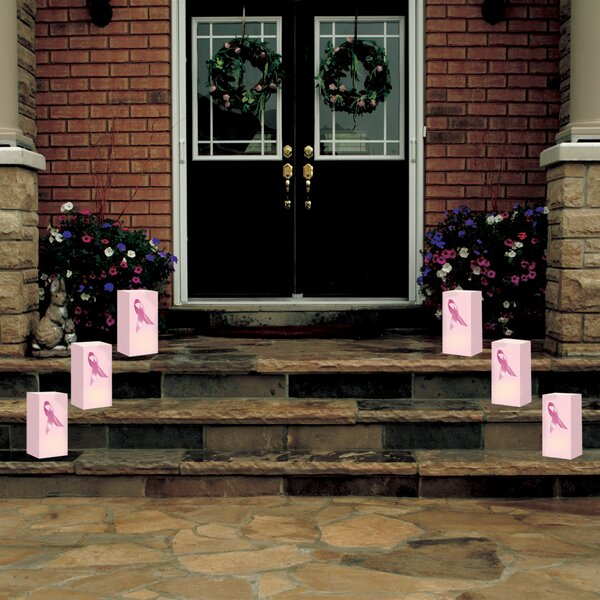 Pink Ribbon Flame Resistant Luminarie Bags (Set of 12) by Luminarias