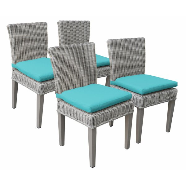 Sanjuana Patio Dining Chair with Cushion (Set of 4) by Breakwater Bay Breakwater Bay