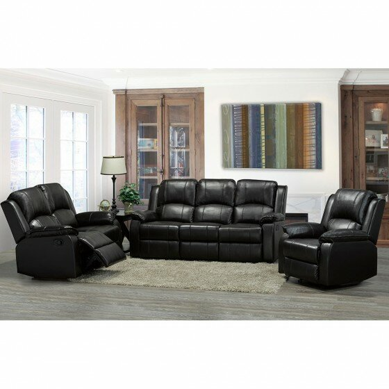 Alexandra Reclining 3 Piece Leather Living Room Set by Brassex