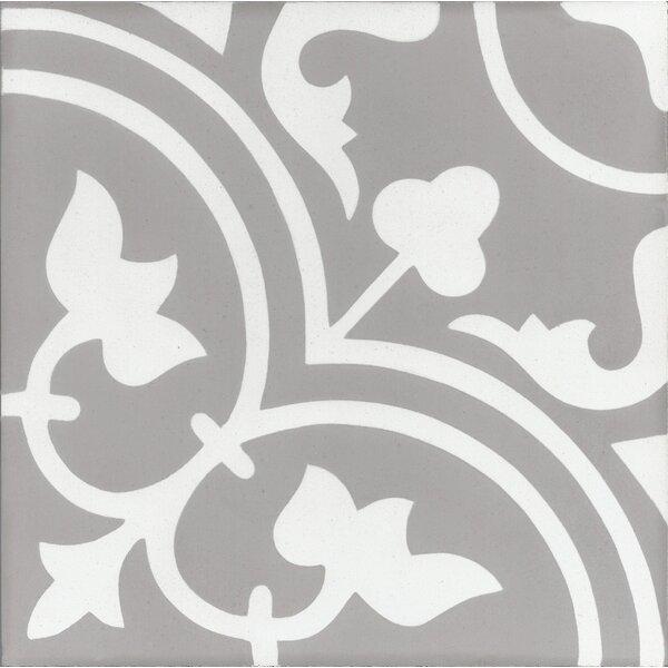 Mediterranea Leo 8 x 8 Quarry Hand-Painted Tile in Gray/Beige by Kellani