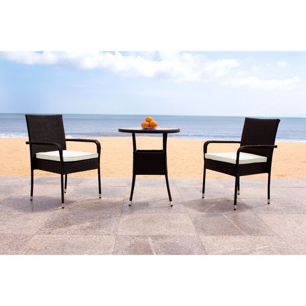 Lon 3 Piece Bistro Set with Cushions by Wrought Studio