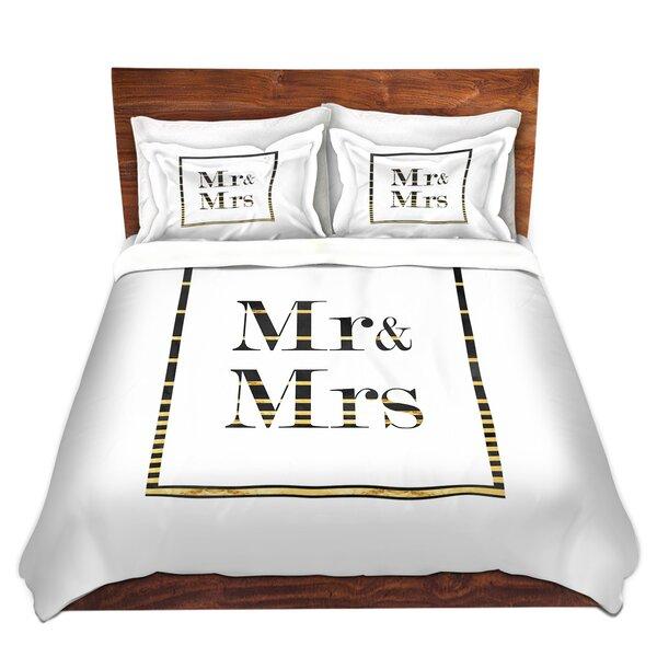Mr. and Mrs. Stripe Border Duvet Cover Set