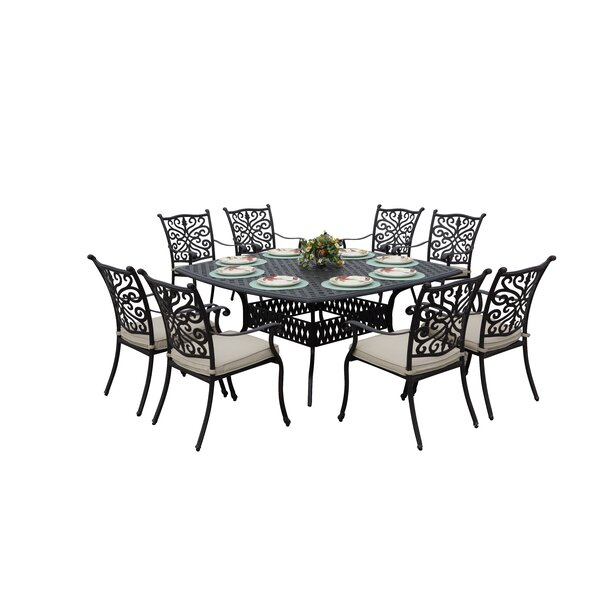 Belton 9 Piece Dining Set with Cushions by Fleur De Lis Living