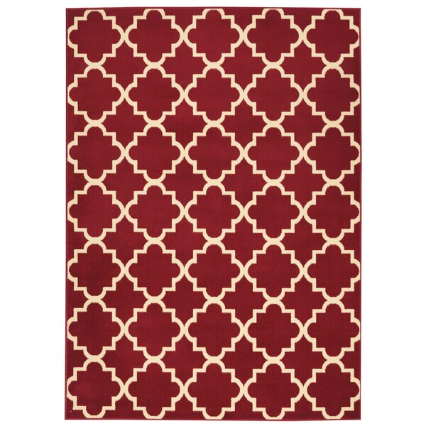 Longmont Trellis Red Indoor Area Rug by Laurel Foundry Modern Farmhouse