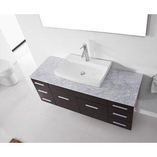 Reviews Rutan 56 Single Bathroom Vanity Set with White Marble Top and Mirror ByLatitude Run