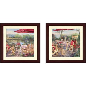'Patio Chaise' 2 Piece Framed Acrylic Painting Print Set by August Grove