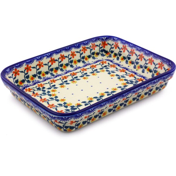 Sunflower Rectangular Polish Pottery Baking Dish by Polmedia
