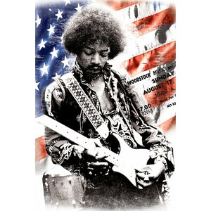 'Jimi Hendrix (American Flag Background)' Graphic Art Print on Canvas by East Urban Home