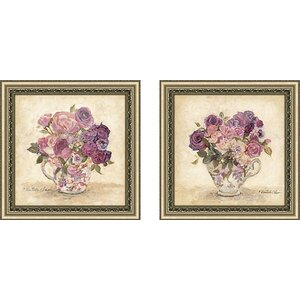 'Petite Bouquet' 2 Piece Framed Acrylic Painting Print Set Under Glass by Lark Manor