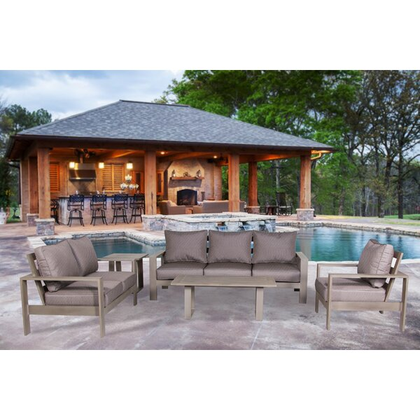 Potsdam 4 Piece Sunbrella Sofa Set with Cushions by Gracie Oaks