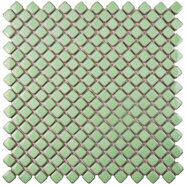 Gem 0.71 x 0.71 Porcelain Mosaic Tile in Glossy Light Green by EliteTile