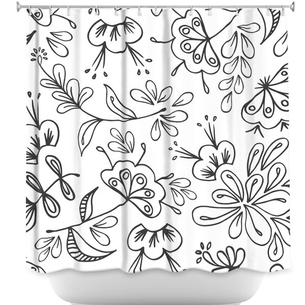 Band with Flora Shower Curtain by DiaNoche Designs