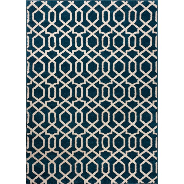 Burgess Geo Helix Navy Blue Area Rug by Ebern Designs