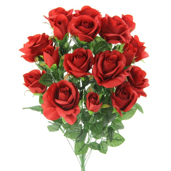 18 Stems Artificial Blooming Rose Buds Floral Arrangement by House of Hampton
