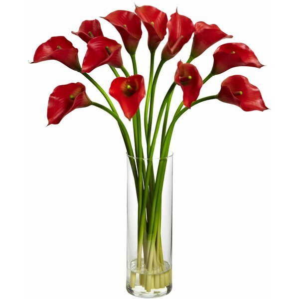 Mini Calla Lily Silk Flower Arrangement with Vase by Latitude Run