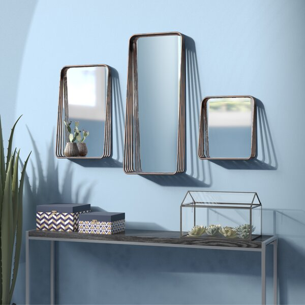 Eide 3 Piece Tall Metal Framed Mirror Set by Wrought Studio