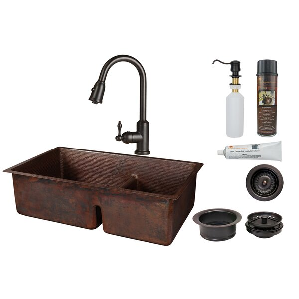 33 L x 22 W Double Basin Dual Mount Kitchen Sink with Faucet