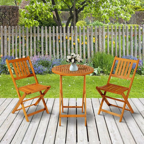 Rollo 3 Piece Folding Acacia Wood Patio Bistro Set by Bay Isle Home