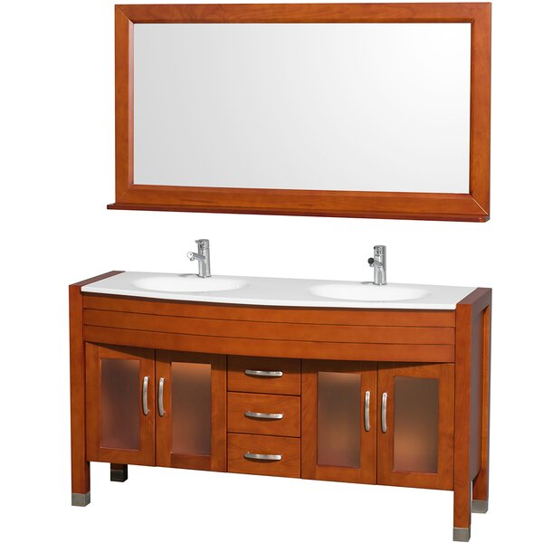 Daytona 60 Double Cherry Bathroom Vanity Set with Mirror by Wyndham Collection