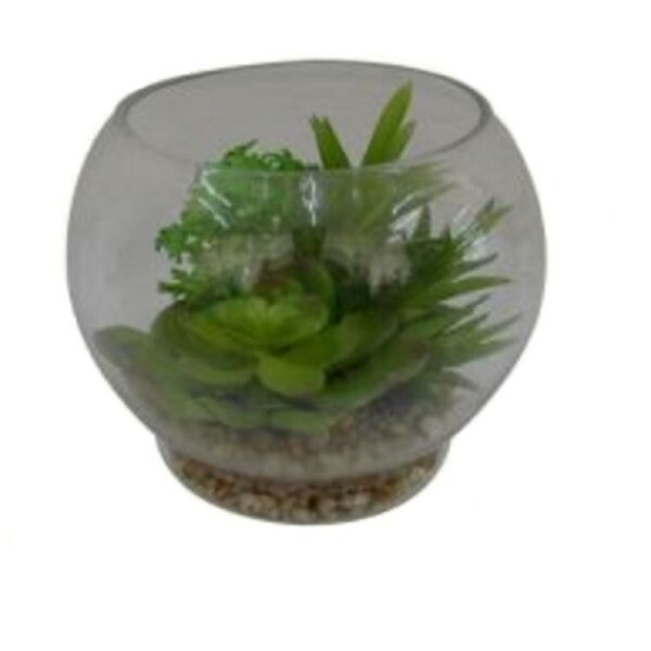9.4 Artificial Succulent Arrangement in Terrarium with Pebbles Tabletop Decoration by Wrought Studio