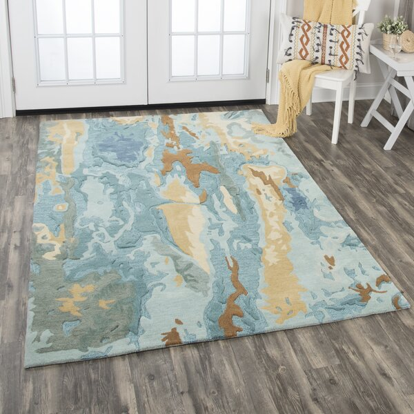 Hames Hand-Tufted Wool Blue Area Rug by Ivy Bronx